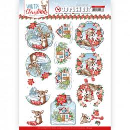 Carte 3D prédéc. - SB10579- Wintry Christmas - Christmas Deer