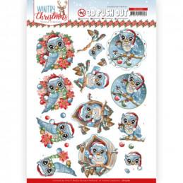 Carte 3D prédéc. - SB10580- Wintry Christmas - Christmas Owls