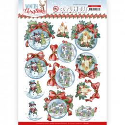 Carte 3D prédéc. - SB10581-Wintry Christmas - Christmas Baubles