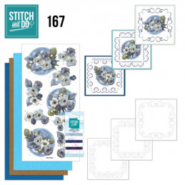 Stitch and do 167 - kit Carte 3D broderie - Fleurs d'hiver
