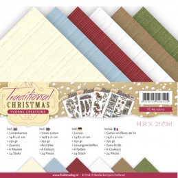 Set 24 cartes  Yvonne creations - Traditional christmas A5 14.8 x 21 cm