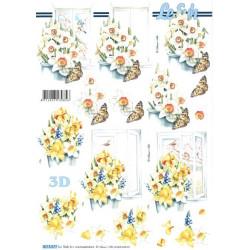 Carte 3D à découper -  narcisses papillons