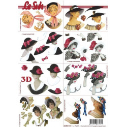 Carterie 3D A4 à découper - Femmes à chapeaux 4169177