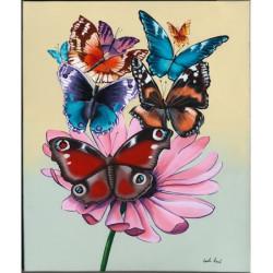 Image pour tableaux 3D format 24x30 cm Papillons sur marguerite GK2430032