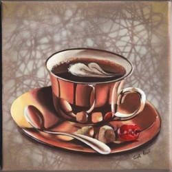 Image pour tableaux 3D format 30x30 cm Tasse à café GK3030024