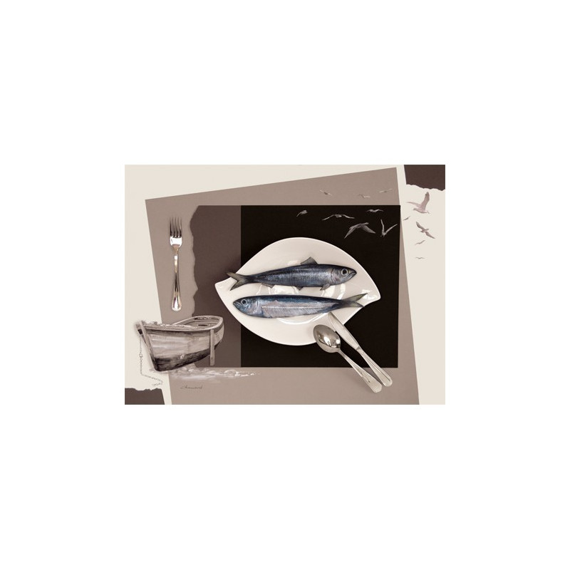 Image pour tableaux 3D 30x40 cm Sardine sur assiette