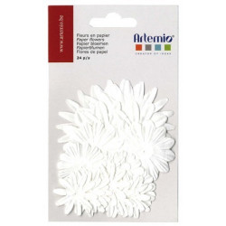 Artemio fleurs papier blanc 24pcs