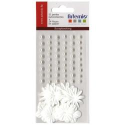 Artemio fleurs+perles blanc