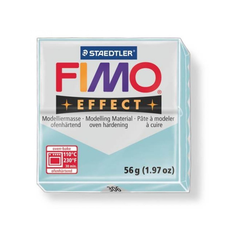 Pâte Fimo soft effect 56 gr blue ice quartz n°306
