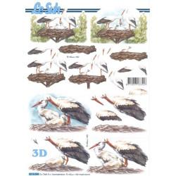 Carte 3D à découper -  cigognes