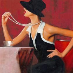 Image pour tableau 3D GK4040005 Femme au collier de perles - Format 40x40 cm.