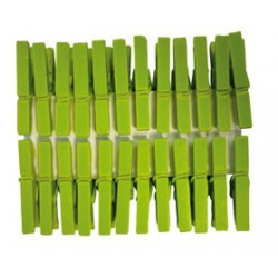 Lot 24 pinces a linge vert anis 30mm