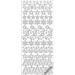 Stickers - 0853 - motif noel - argent
