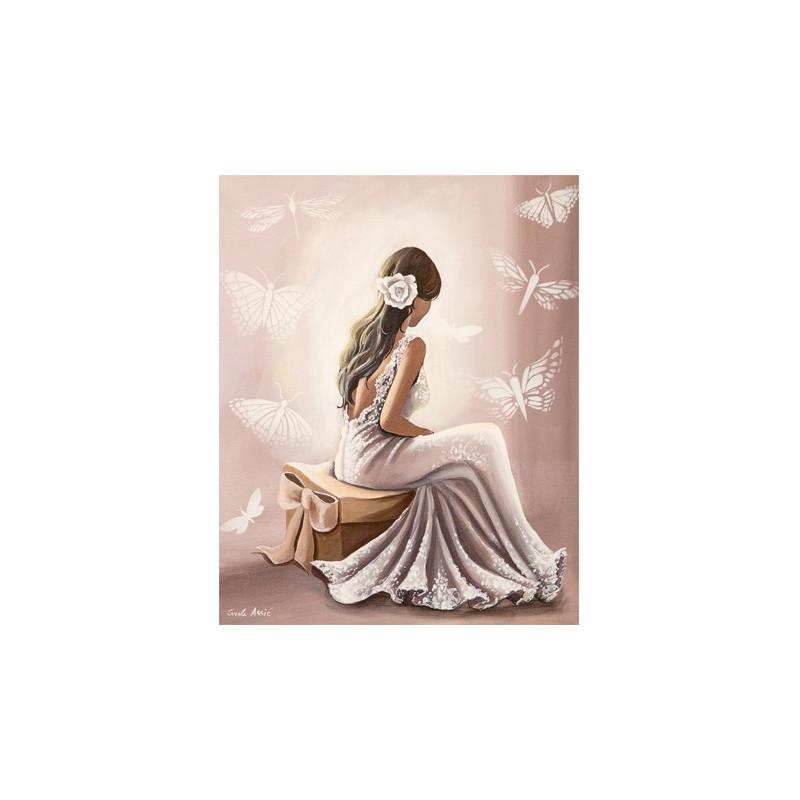 Image pour tableau 3D GK2430044 - La robe blanche format 24x30 cm.