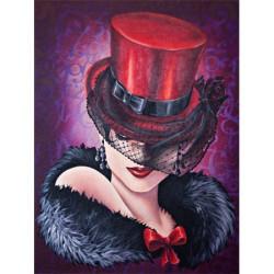 Image pour tableau 3D GK3040035 - Femme au chapeau rouge - Format 30x40 cm.
