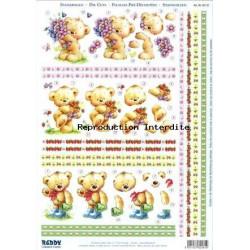 Carterie 3D Prédécoupée A4 - 82181- 3 oursons fleurs/fraises
