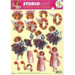 Carte 3D prédécoupée - n°194 - Petites filles et fleurs