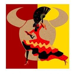 Image pour Tableau 3D format 30x30 cm GK3030010 Flamenco et Taureau