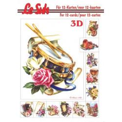 Carte 3D livret A5 à découper - 12 cartes - musique