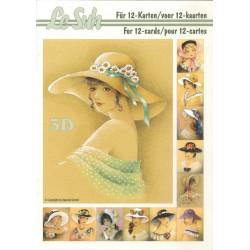 Carterie 3D LIVRE A5 - 12 cartes - Femmes chapeau