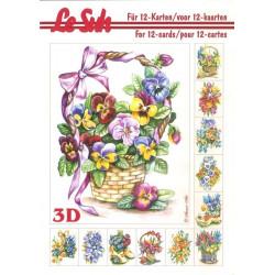 Carterie 3D LIVRE A5 - 12 cartes - Fleurs de printemps