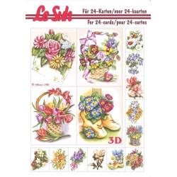 Carterie 3D LIVRE A5 - 24 cartes - Bouquet fleurs