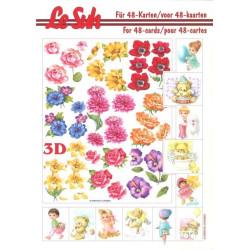 Carterie 3D LIVRE A5 - 48 cartes - Fleurs et enfants