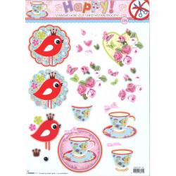 Carte 3D prédécoupée - n°114 - Tasses et oiseaux