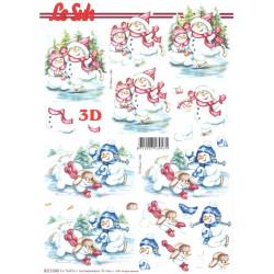 Carte 3D à découper -  bonhommes de neige
