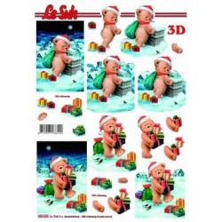 Carterie 3D Prédécoupée - Ourson de Noël