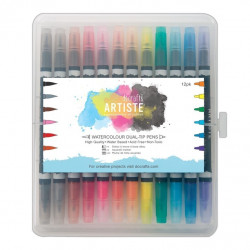 Feutres duo pointe pinceau & pointe (12pcs) - aquarellable