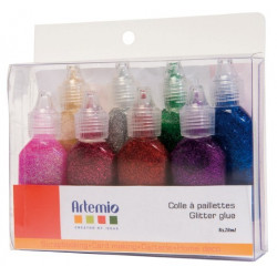 Colle paillettée Artemio assortiment de 8 tubes
