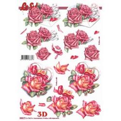 Carterie 3D Prédécoupée - Roses roses