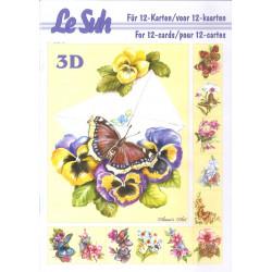 Carterie 3D LIVRE A5 - 12 cartes - Fleur papillon