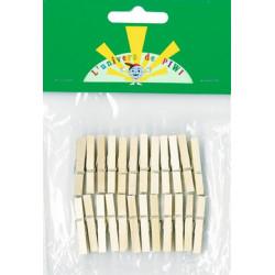 24 mini pinces a linges 30mm naturel