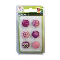 Lot 6 magnets tissu romance 17mm