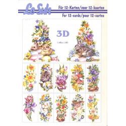 3D LIVRE A5 - 12 cartes - Bouquet fleurs