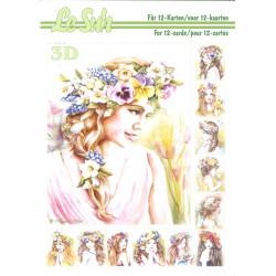 3D LIVRE A5 - 12 cartes - Femme Fleurs