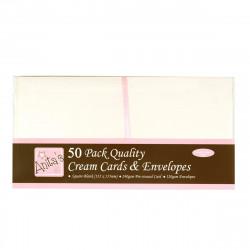 Cartes carrées ivoires 135x135 + enveloppes paquet de 50