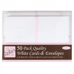Cartes blanches A6 105x148 + enveloppes paquet de 50