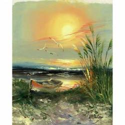 Gk2430057 24x30 bateau au soleil couchant n 2 aux for Peinture avec du sable
