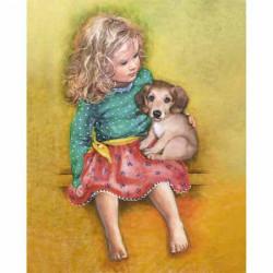 Image 3D - gk2430062 - 24x30 - fillette et chiot