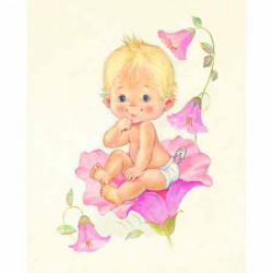 Image 3D - gk2430076 - 24x30 - bébé fille et fleurs