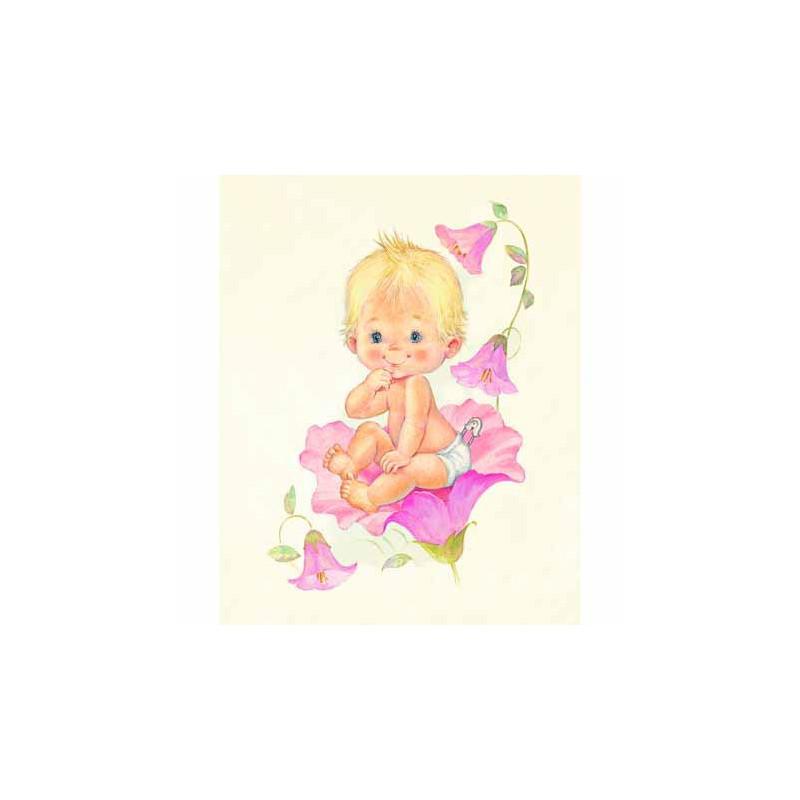 Image pour tableau 3d GK2430076 - format 24x30 cm Bébé fille et fleurs