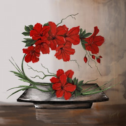 GK3030058 - 30X30 - Compo florale rouge