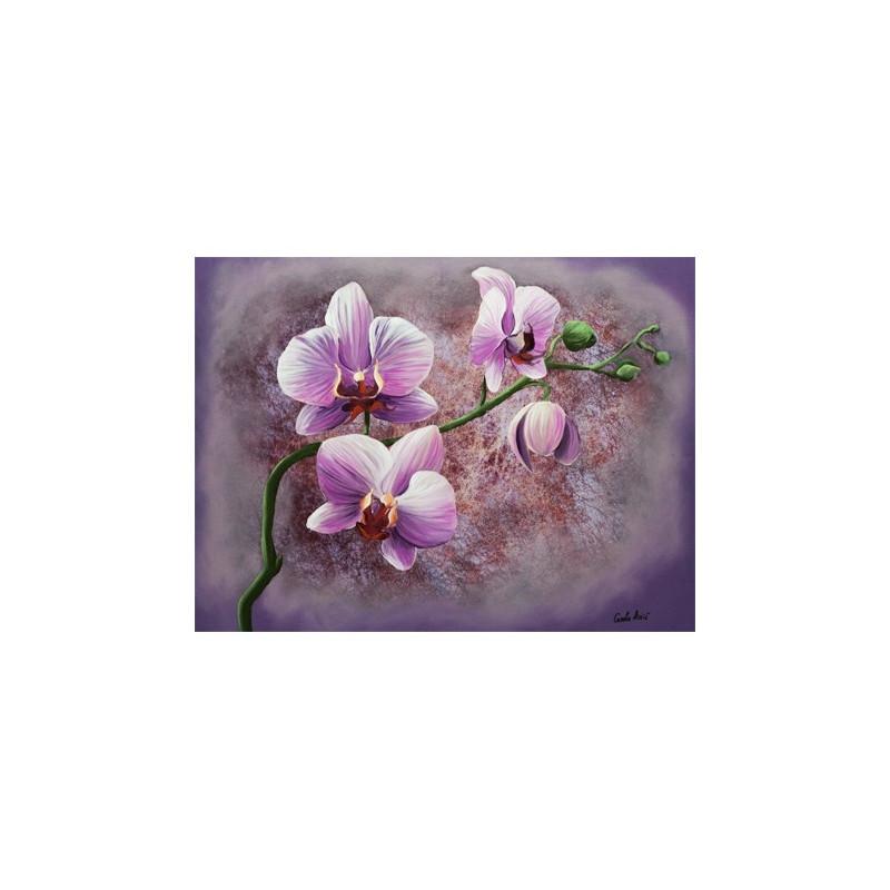 Gk3040032 30x40 orchidee rose aux bleuets - Tableau avec orchidee ...